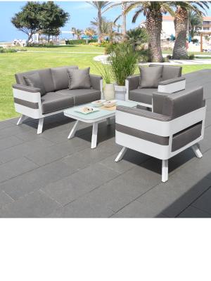 greemotion Alu Lounge Set St. Tropez, 4 teilig, Gartenmöbel Set aus Aluminium inkl. Kissen, Design Sitzgruppe für Indoor & Outdoor, weißgrau