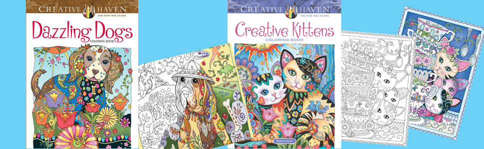 Adult Coloring, Dogs, Cats, Kittens
