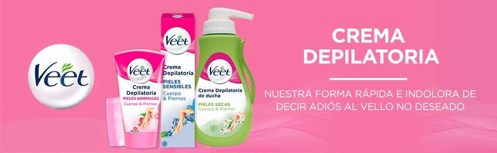 Veet Crema Depilatoria Corporal para Usar Bajo la Ducha para Mujer, con Dosificador, Piel Sensible - 400 ml: Amazon.es: Belleza