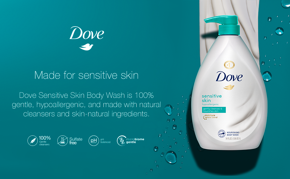 Amazon Com Dove Body Wash For Softer And Smoother Skin Sensitive Skin Effectively Washes Away Bacteria While Nourishing Your Skin 34 Oz Beauty