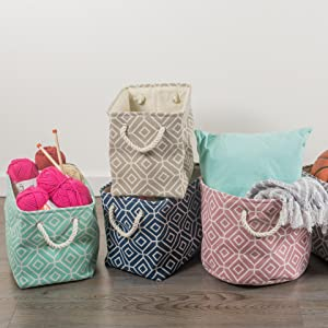 basket with handles, storage baskets, soft storage bins, storage for linens, decorative baskets