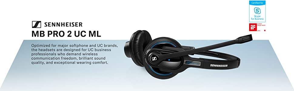 Wireless Bluetooth Headset w// HD Sound /& Noise Cancelling Microphone For Mobile Phone Connection Black - Dual-Sided Sennheiser MB Pro 2 506044