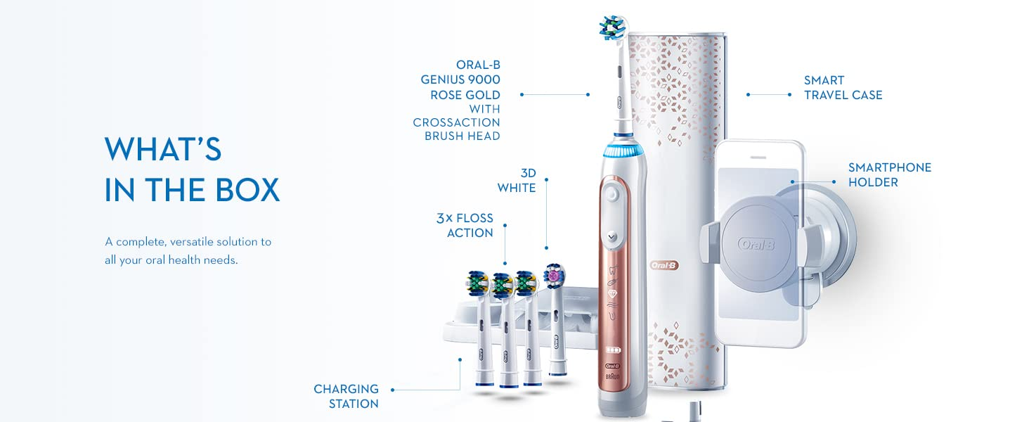 Oral-B Genius 9000 Rose Gold + FA What's in the Box
