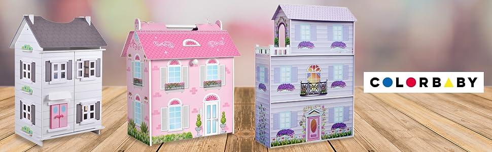 casas de muñecas, casitas de muñecas, casas de madera, juguetes de madera,