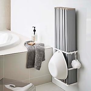 【山崎実業】マグネットバスルーム折り畳み風呂蓋ホルダー ミスト ホワイト 4862