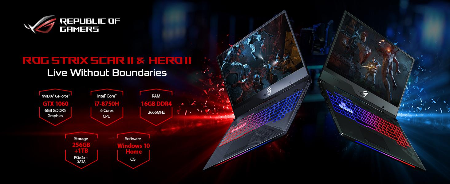 "Asus ROG Strix Hero II Gaming Laptop, 15 6"" 144Hz IPS Type, NVIDIA GeForce  GTX 1060 6GB GDDR5, Intel Core i7-8750H Processor, 16GB DDR4, 256GB Pcie"