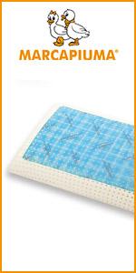 Marcapiuma Matelas à mémoire de forme gel frais respirant rigide moyen bleu blanc confortable