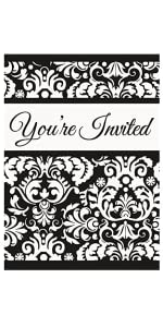 amazon com black damask invitations 8ct toys games
