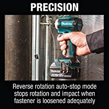 precision reverse rotation auto stop mode impact when fastener loosened adequately smart technology