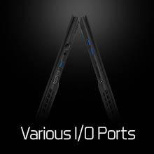 SD Card Reader; many ports: connectivity;