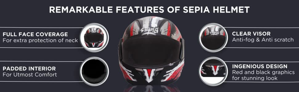 Sepia Premium Rider Full Face Graphic Helmet (Black and Red, M to L)