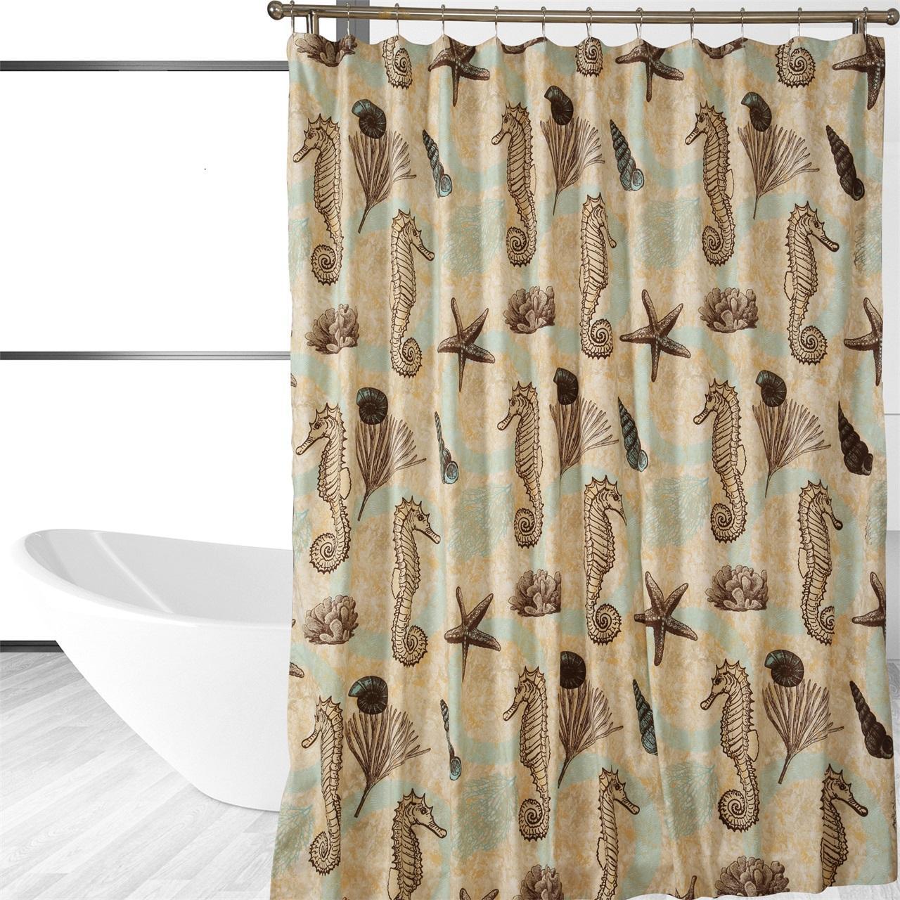 sea horse shower curtain home kitchen. Black Bedroom Furniture Sets. Home Design Ideas