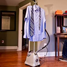 clothing steamer with men's dress shirt and tie on hanger