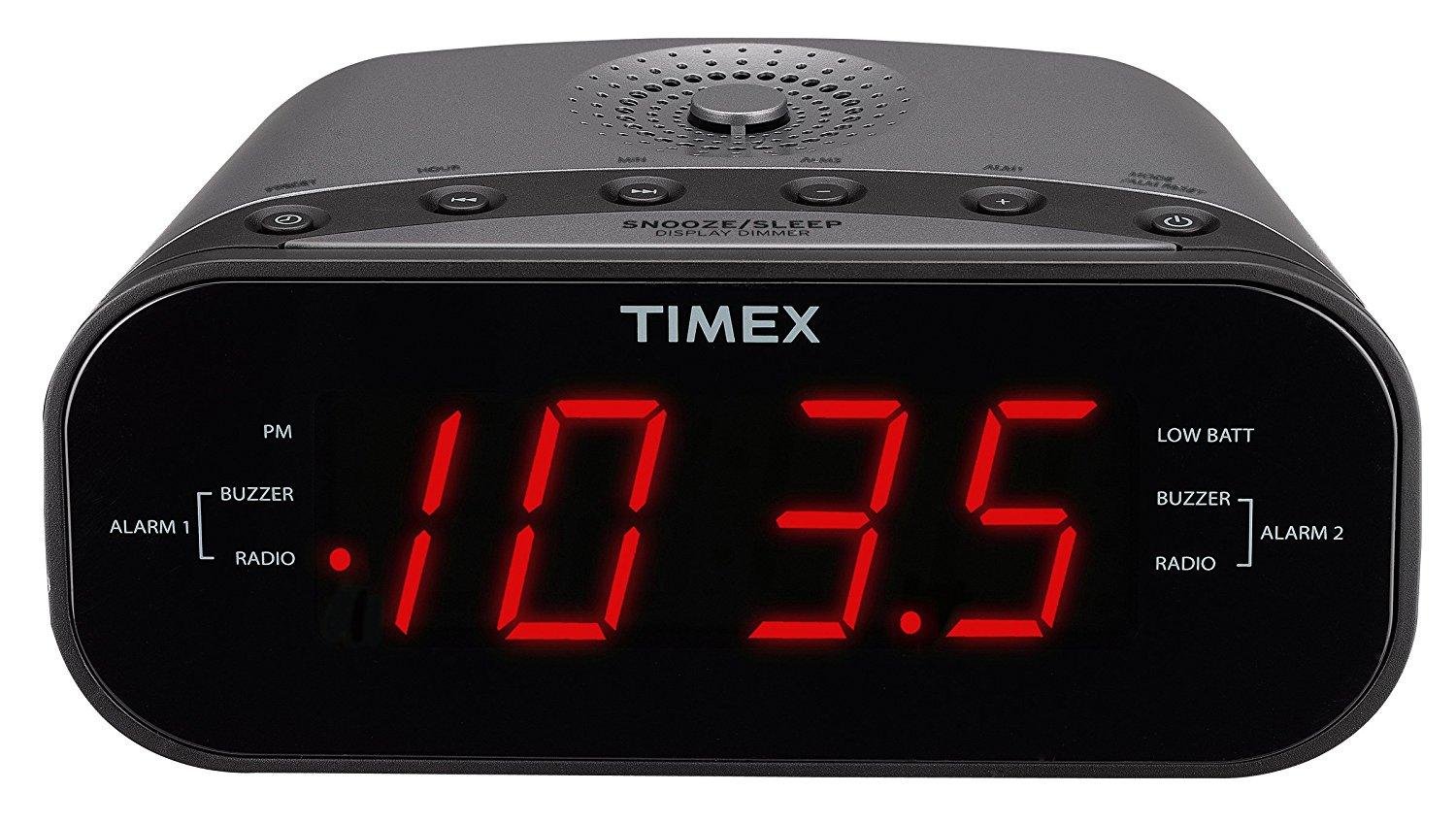 timex t231gy am fm dual alarm clock radio with 1 2 inch red display and line in jack. Black Bedroom Furniture Sets. Home Design Ideas