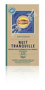 Lipton Infusion Nuit Tranquille 10 capsules, tilleul, lavande, camomille, tisane, détente, digestion