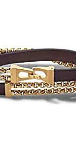 Bulova Gold-tone stainless steel chain and leather double wrap bracelet