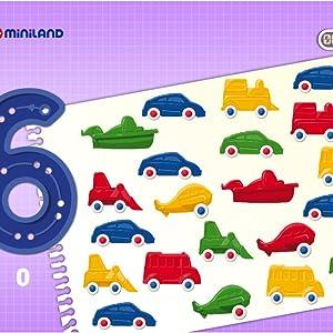 Color carb/ón Sort /& Count Vehicles Juego de conteo para ni/ños Miniland 45340