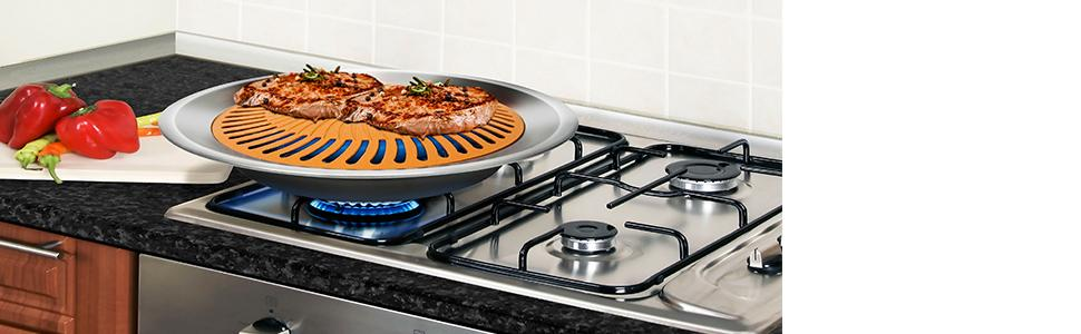 Gotham Steel Titanium And Ceramic Non Stick Smokeless Stove Top Grill Healthy Indoor Kitchen Bbq Grill