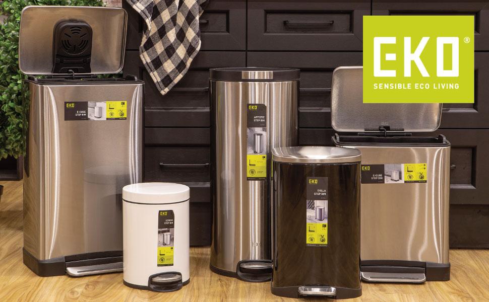 EKO; trash; garbage; rubbish; bins; cans; kitchen; bathroom; stainless steel; simplehuman