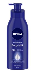 body milk, body lotion, nivea