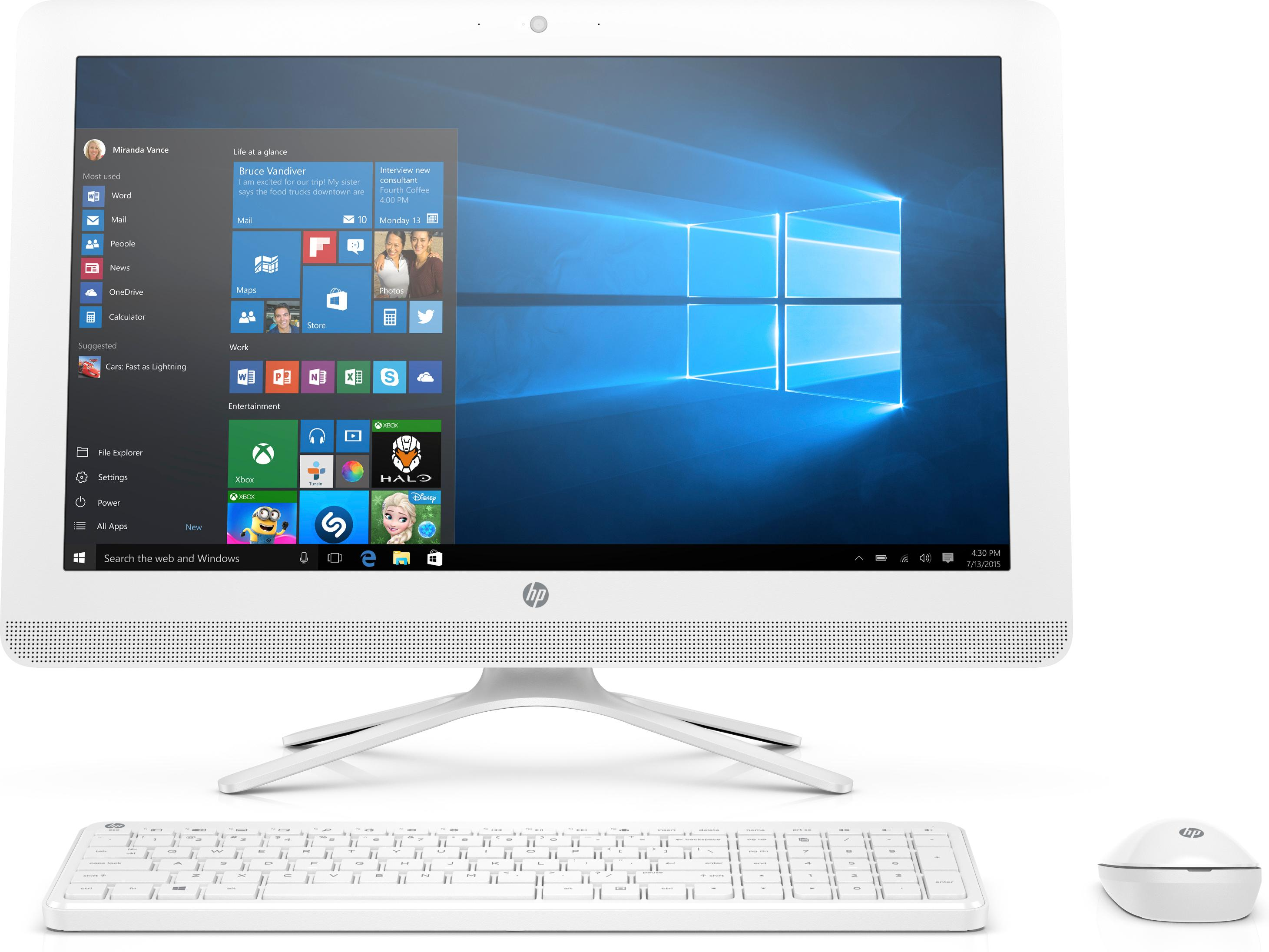 hp 22 b027nf pc de bureau tout en un 22 full hd blanc intel celeron 4 go de ram 1 to intel. Black Bedroom Furniture Sets. Home Design Ideas