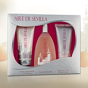 Aire de Sevilla para Mujer - Set Eau de Toilette, Crema Perfumada y Gel Exfoliante: Amazon.es: Belleza