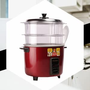 Panasonic SR-WA18H SS Automatic Cooker Warmer Food Steamer 660Watts 1.8 L 1 Kg Rice Colour Burgundy