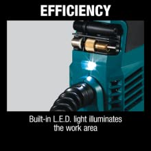 efficiency built-in LED light illuminates the work area