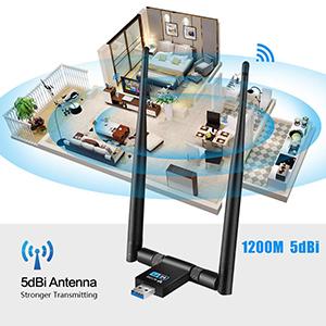 WiFi Adaptador - Maxesla 1200Mbps WiFi USB 3.0 Dongle Receptor Inalámbrico Antena 5dBi 2.4G/5GHz Dual Band Antena para PC Desktop Laptop, ...