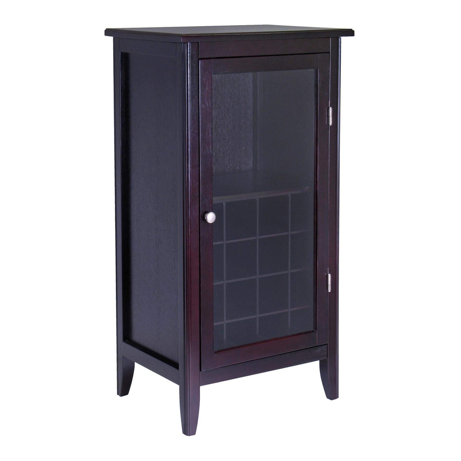 Winsome wood wine cabinet with glass door for 1 door cabinet