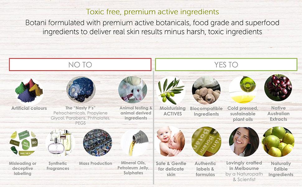 non-toxic, pure, natural, organic, premium ingredients