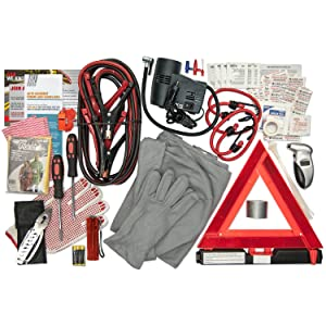 Emergency road kit, jumper cables, safety, first aid, air compressor
