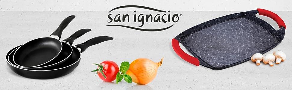 San Ignacio Cune SIP Set 3 sartenes + Plancha Grill, Aluminio Prensado