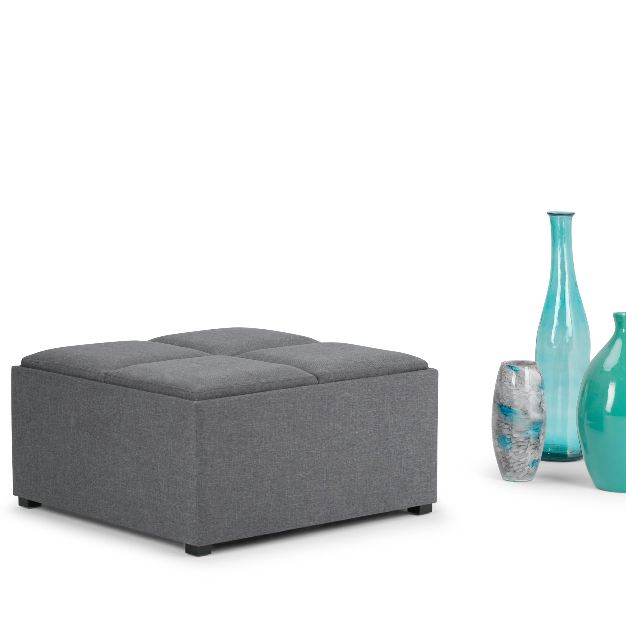 Simpli Home Avalon Coffee Table Storage Ottoman With 4 Serving Trays Slate Grey