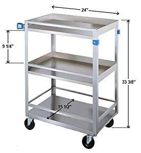 Lakeside 316 Guard Rail Utility Cart, 3 Shelves, Stainless Steel