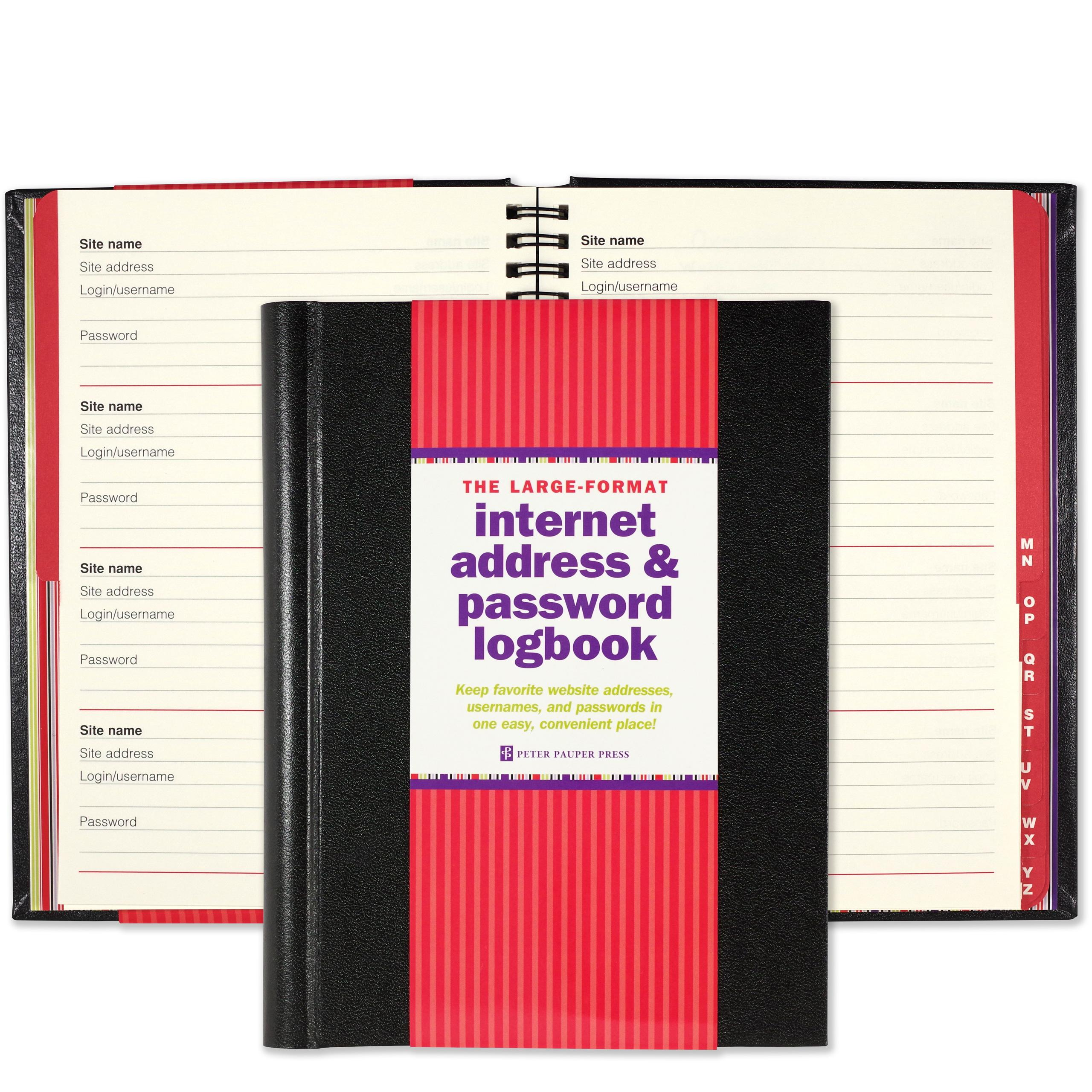 Amazon.com: Large-Format Internet Address & Password Logbook (removable  cover band for security) (9781441315953): Peter Pauper Press: Books