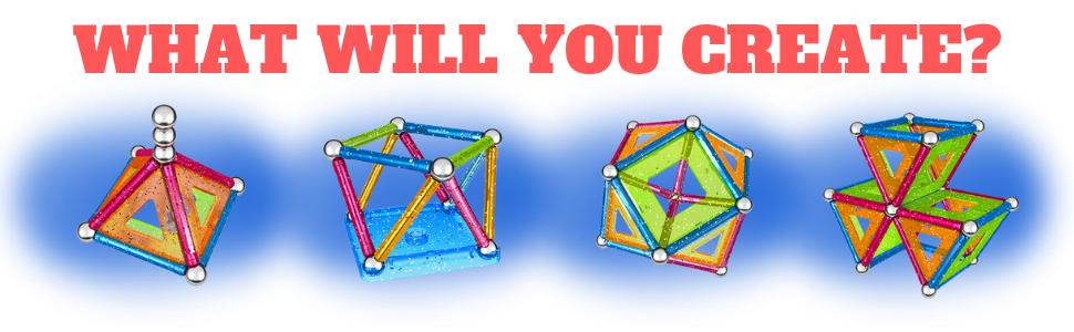 Geomag, Glitter, Magnetic Construction Sets, Building Toys, STEM, STEAM, Kids, Boys, Girls