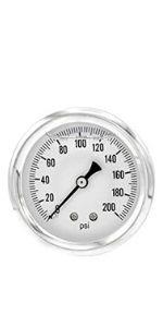 Glycerine Filled Pressure Gauge, Single Scale