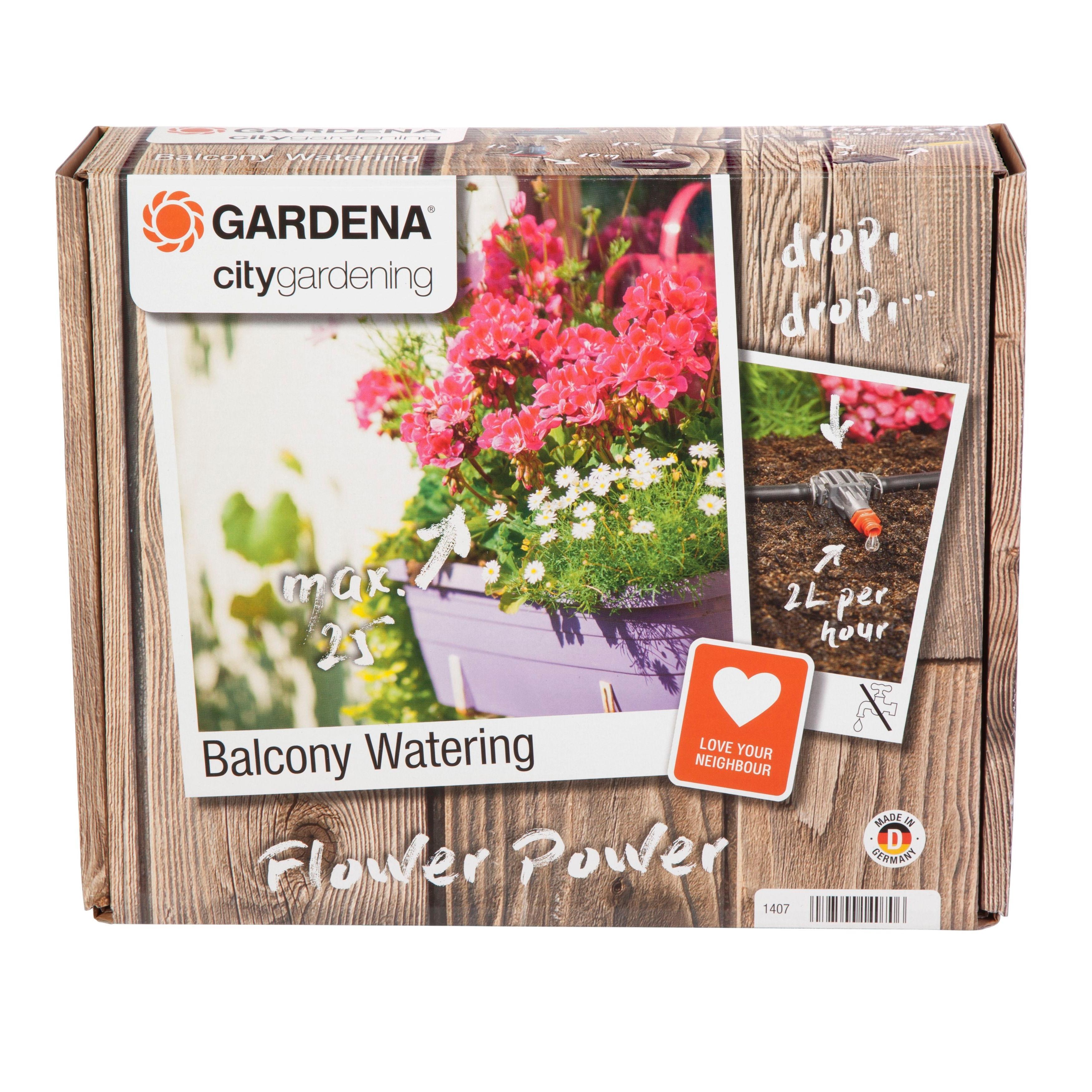 gardena 1407 20 city gardening balkon bew sserung ideal zur vollautomatischen bew sserung von. Black Bedroom Furniture Sets. Home Design Ideas