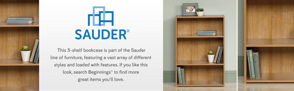 Sauder Beginnings 3-Shelf Bookcase in a Highland Oak finish