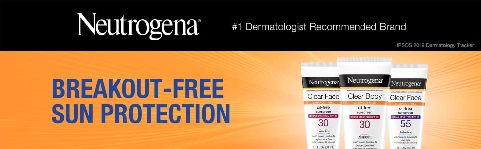 Acne breakout-free sun protection with Neutrogena Clear Face and Body Liquid Sunscreen lotion