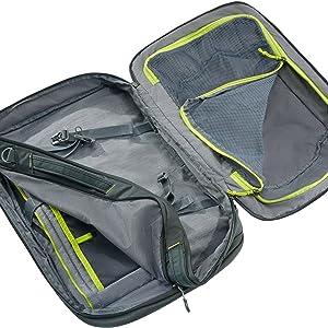 Hauptfach; Kofferzugriff; Koffer; Netzabdeckung; Kleidungsfach; Arbeitsfach; Rucksack; Deuter