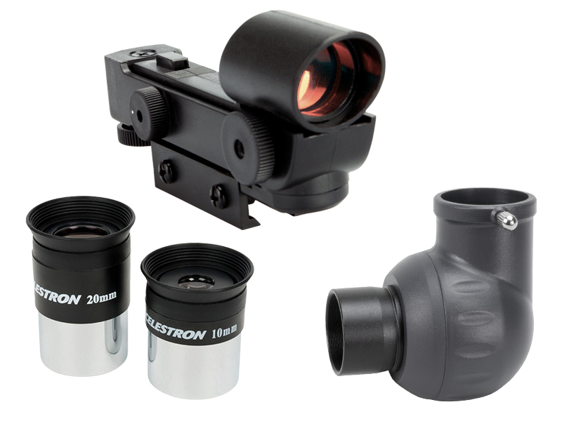 eyepieces (20mm and 10mm), finderscope, erect image diagonal,