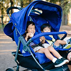 scooter x2 two kids toddlers stroller fun walks blue double stroller
