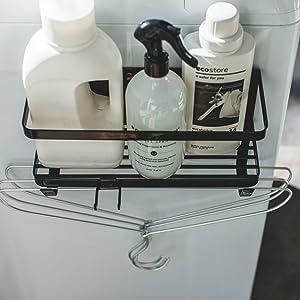 洗濯機横マグネットラック タワー  ブラック 4769