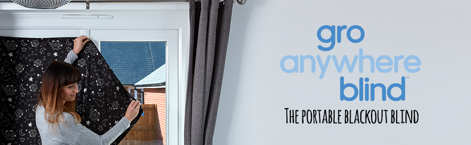 Gro anywhere blind, Gro blind, Gro Anywhere Black Out Blind, suction black out blinds