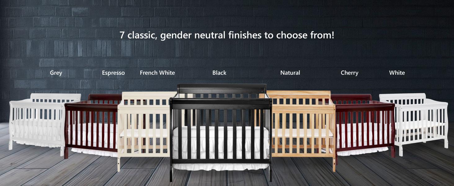 French White Gray Cherry Espresso Black Natural White aden mini crib for baby