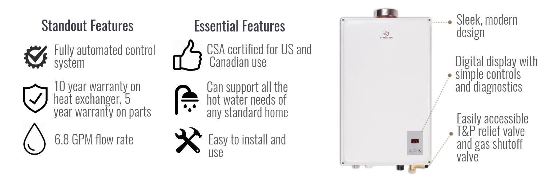 Eccotemp 45hi Ng Indoor Natural Gas Tankless Water Heater