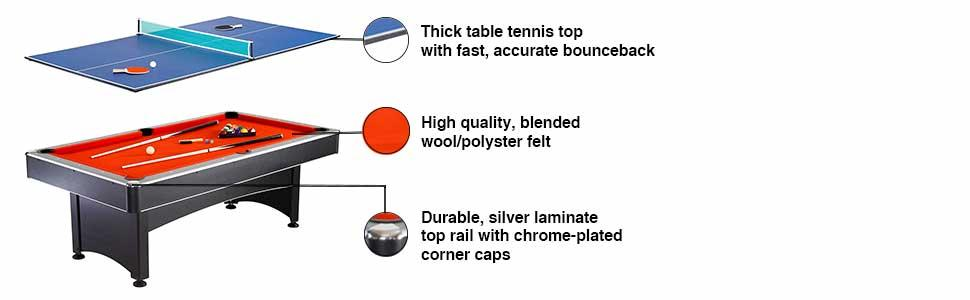 Table Tennis Ping Pong Pool Billiards Removable Convertible Multi Game