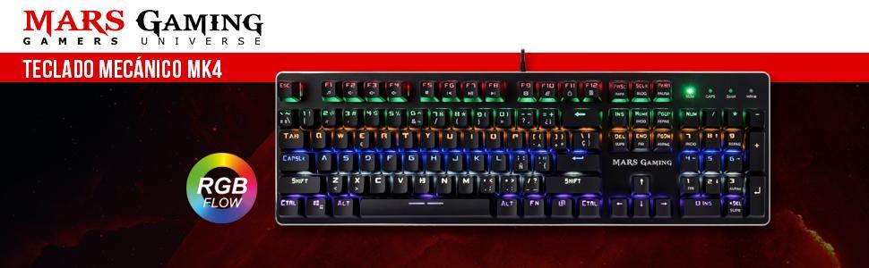 Mars Gaming MK4R - Teclado gaming para PC (Retroiluminado 6 colores, anti-ghosting, 10 perfiles luz, 6 efectos luz, Iluminación lateral RGB flow, 16 ...